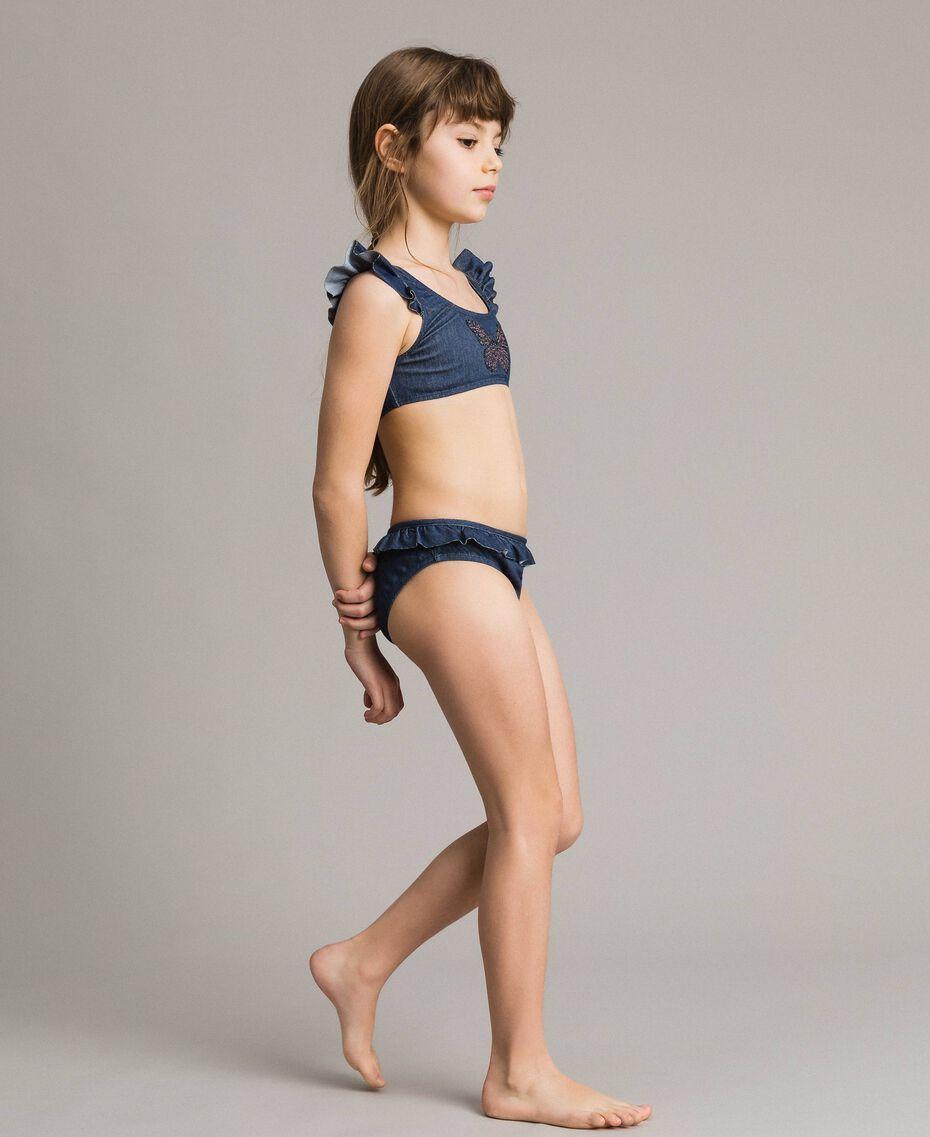 Bikini avec ruchés et papillon en strass Jean Foncé Enfant 191GJM902-0S
