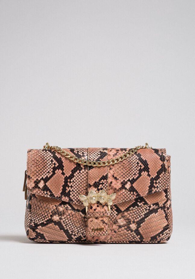 Large Rebel shoulder bag with python print