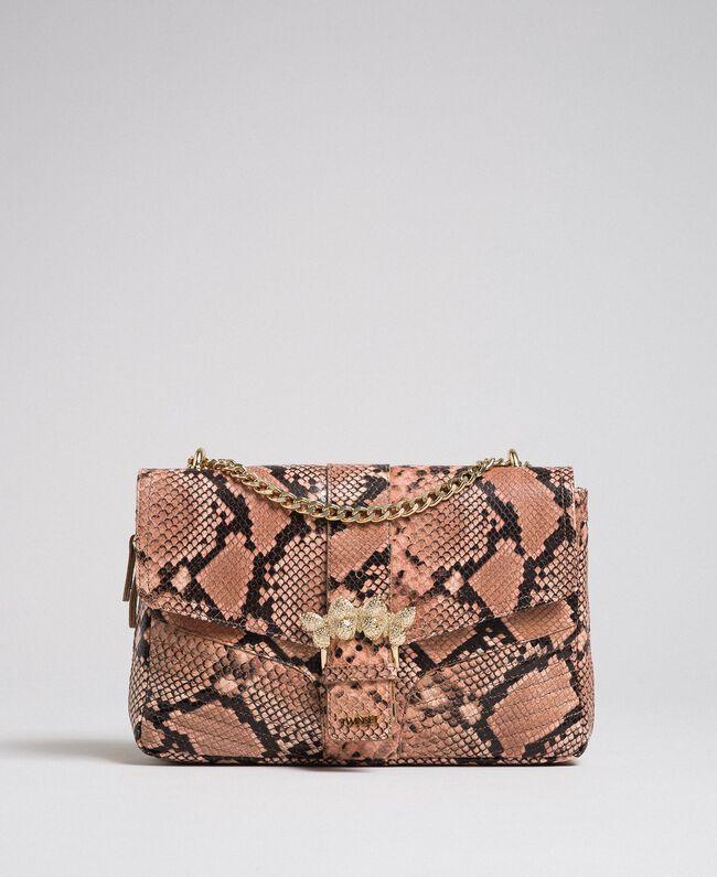 """Große Umhängetasche """"Rebel"""" mit Pythonprägung Pythonprint Pink Mousse Frau 192TA7230-01"""