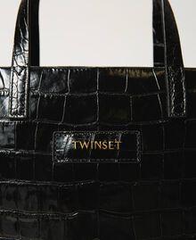 Bolso shopper Twinset Bag mediano de piel Estampado Coco Negro Mujer 202TB7113-03