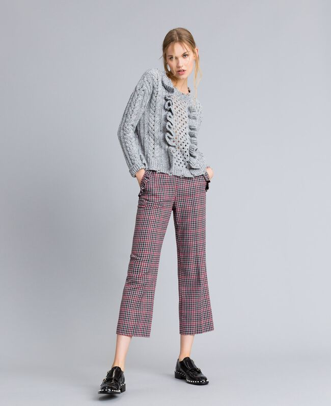 Tweed jumper with ruches Light Gray Mélange Woman SA83DA-0T