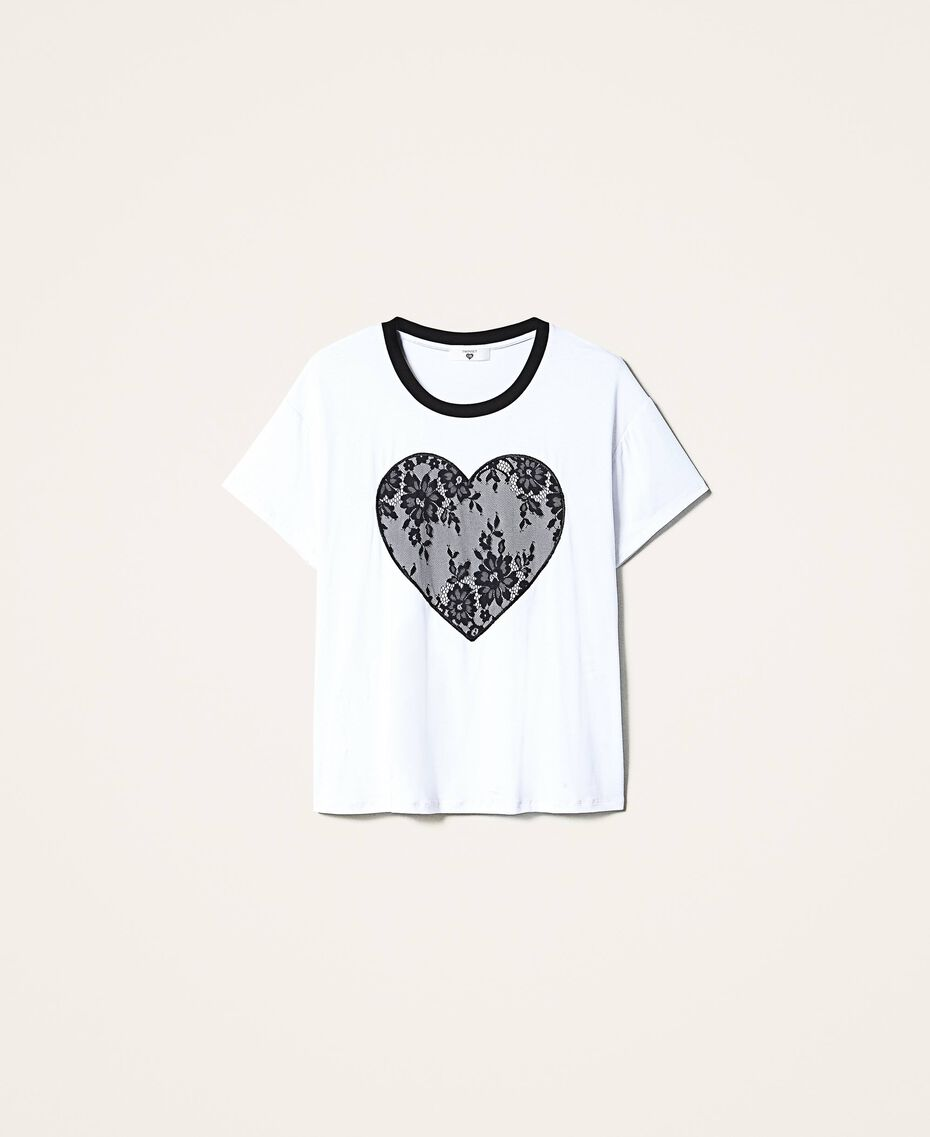 T-shirt con cuore in pizzo Bianco Donna 202LI2NAA-0S