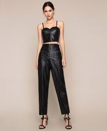 Faux leather bustier top Black Woman 201MP2045-0T