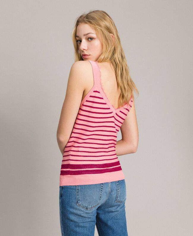 "Viscose and lurex striped top ""Wild Rose"" Pink / ""Anemone"" Fuchsia Lurex Striping Woman 191TP3234-03"