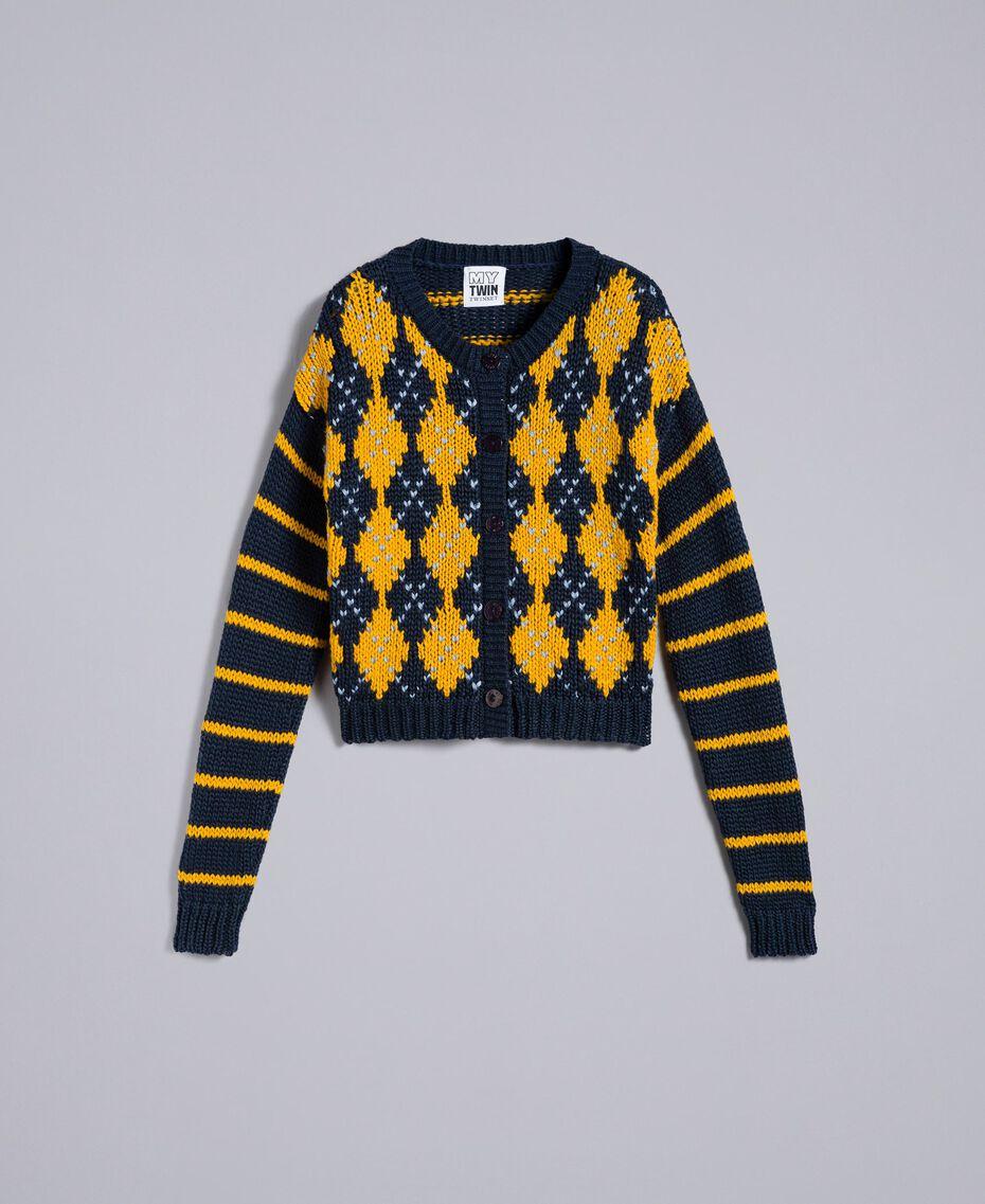 Minicardigan mit Rauten und Streifen Mehrfarbig Nachtblau / Goldgelb / Denimblau Frau YA83L1-0S