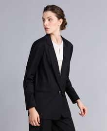 Jacke aus Cool Wool Schwarz Frau PA823R-02