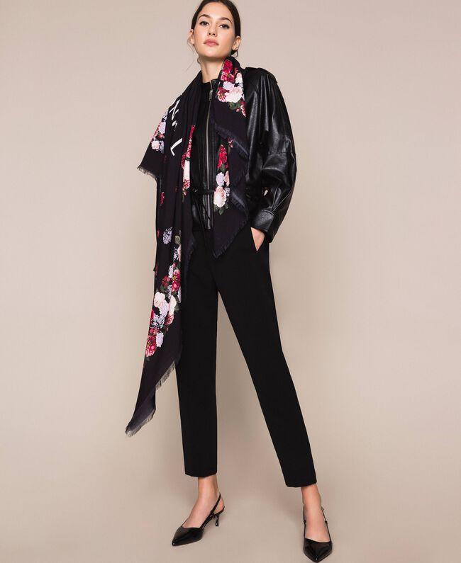 Keffieh avec imprimé floral Imprimé Fleurs Multicolore Noir Femme 201TA4367-0T