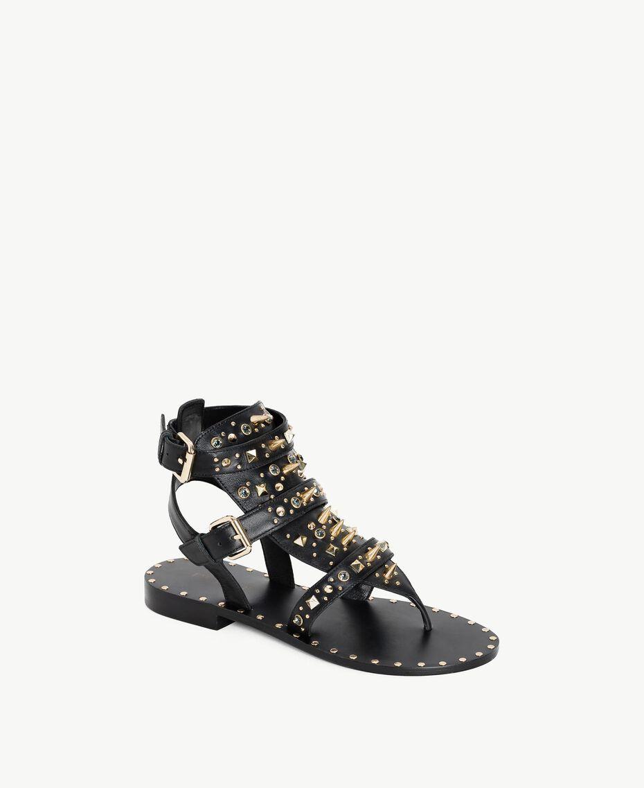Sandales avec clous Noir Femme CS8TGC-02