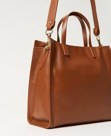 Twinset Bag leather shopper Leather Brown Woman 211TD8041-03