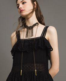 Collier chocker orné de strass et de pompons métalliques Noir Femme 191TO5341-0S