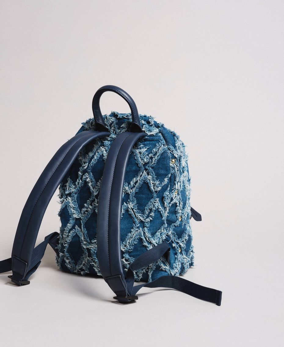 Denim patchwork-effect backpack Arabian Blue Woman 191MA7080-02