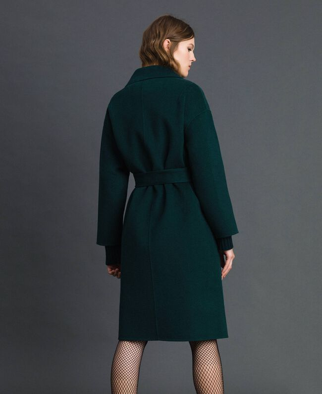 size 40 4ae0d 1f574 Cappotto in misto lana double Donna, Verde | TWINSET Milano