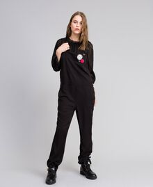Dungarees with front pocket and pins Black Woman JA82S1-03