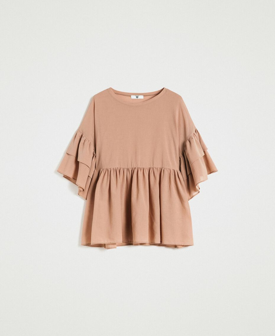 "Wide sleeve blouse with flounce ""Petra Sandstone"" Brown Woman 191LM2HCC-0S"