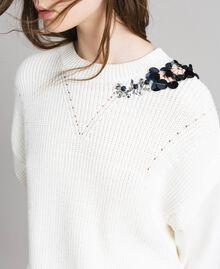 Stricksweatshirt aus Baumwolle mit Mailand-Stich Seidenweiß Frau 191TP2071-04