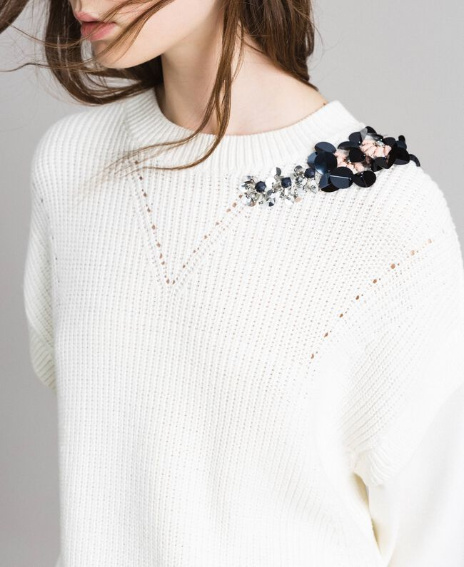 "Milan stitch and cotton-knit sweatshirt ""Silk"" White Woman 191TP2071-04"