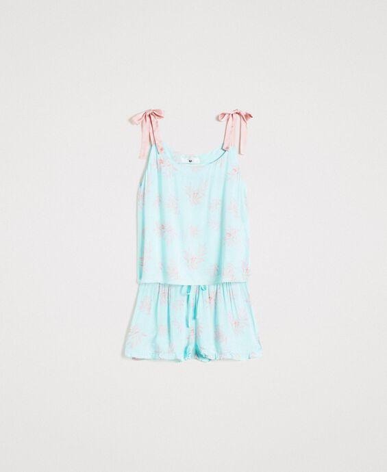 Pyjama court en jacquard floral