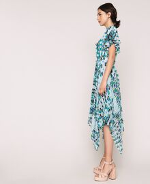 "Printed georgette dress with pleats and frills ""Windy"" Blue Geometric Print Woman 201ST2185-04"