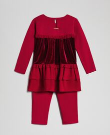 Flounce blouse and leggings Ruby Wine Red Child 192GB2270-0S