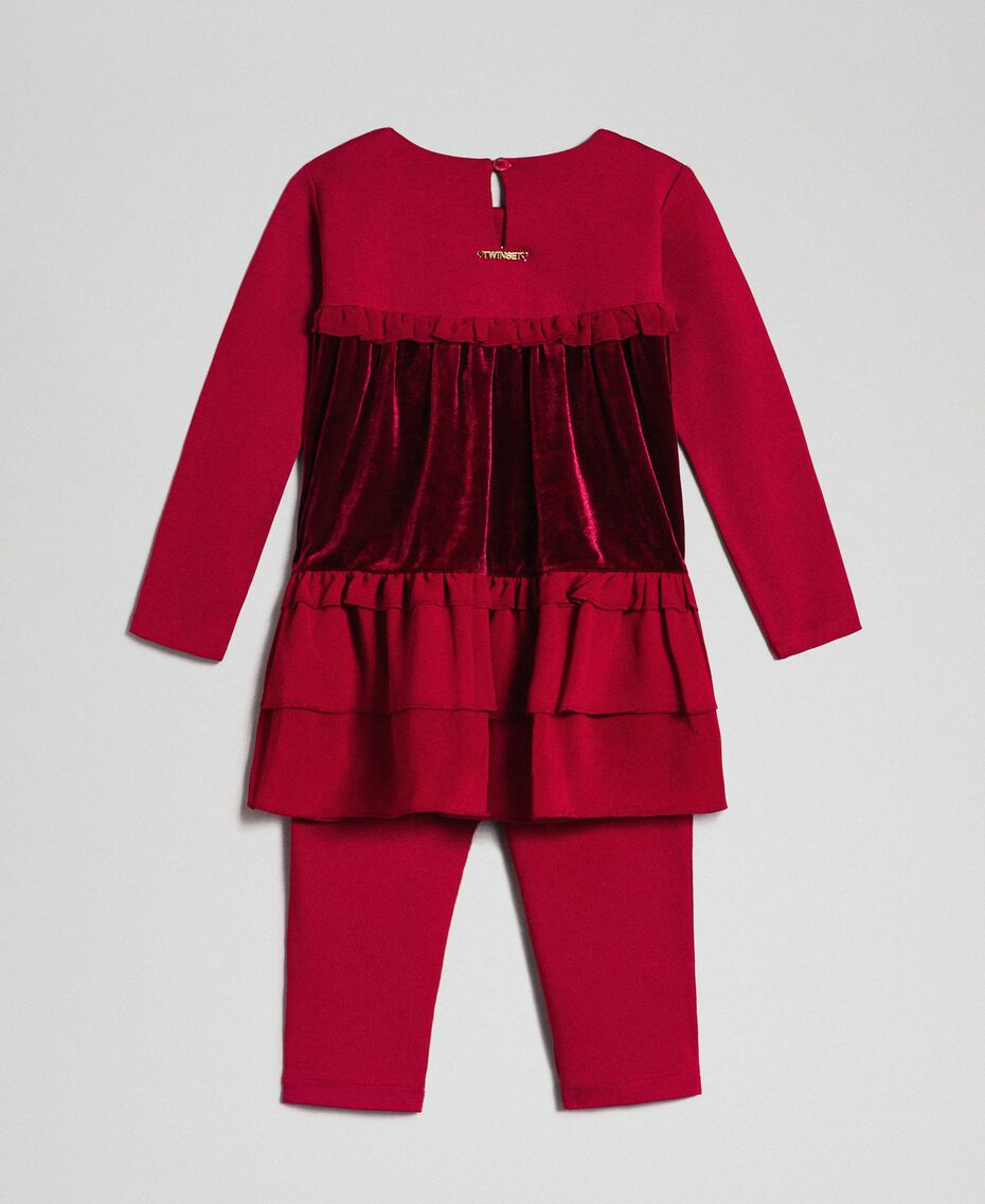 Blouse avec volants et legging Rouge Ruby Wine Enfant 192GB2270-0S