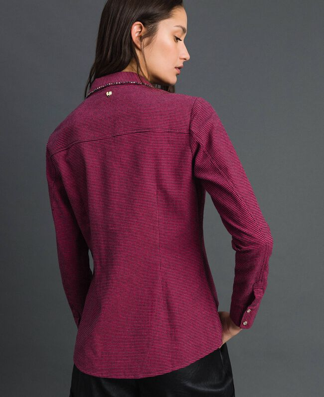 Hemd mit Mikro-Hahnentrittmuster Hahnentritt Pink Gloss / Schwarz Frau 192MT2124-03