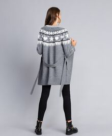 Maxi jacquard cardigan with studs Bicolour Grey Melange / Mother-of-pearl White Woman JA83ED-03