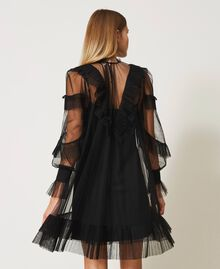Tulle dress with pleated flounces Black Woman 211TQ2047-03