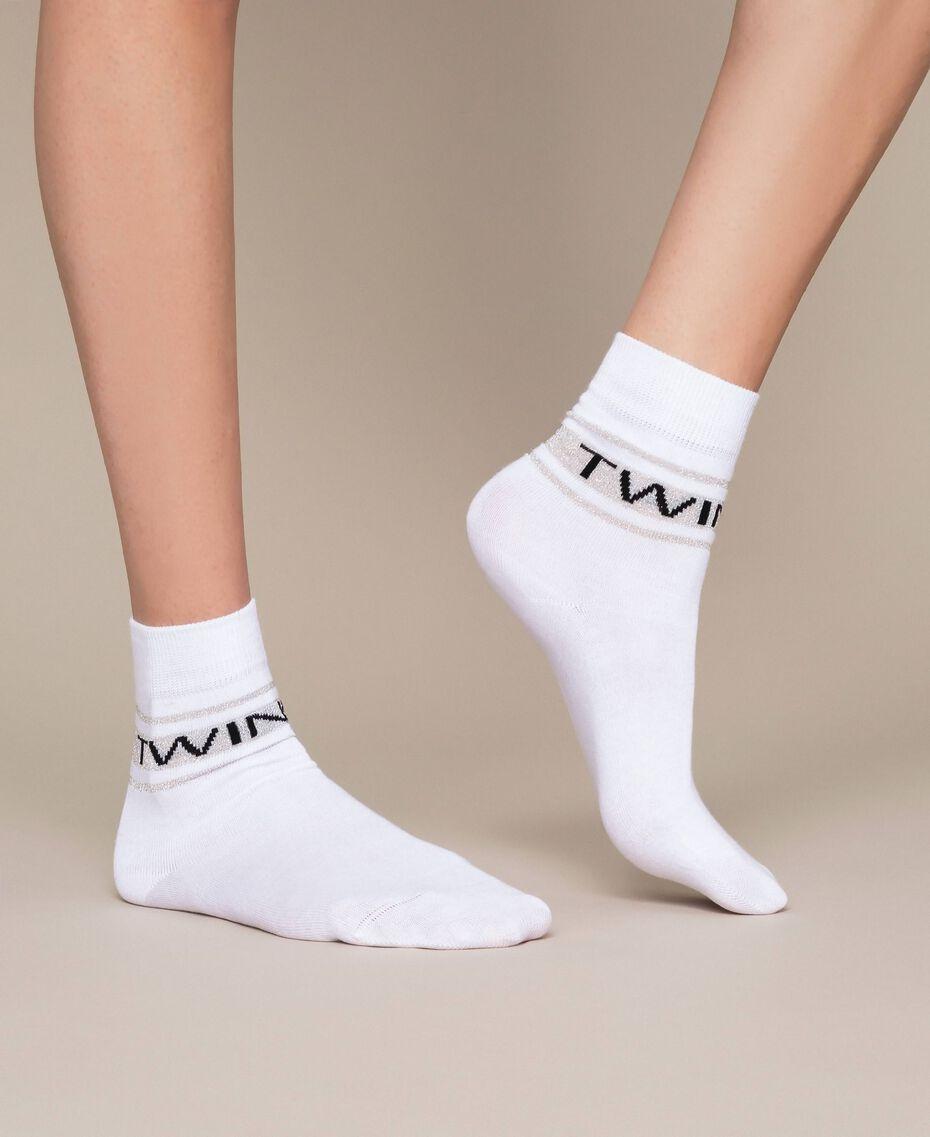 Короткие носки с жаккардовым логотипом Черный женщина 201TA4410-0S