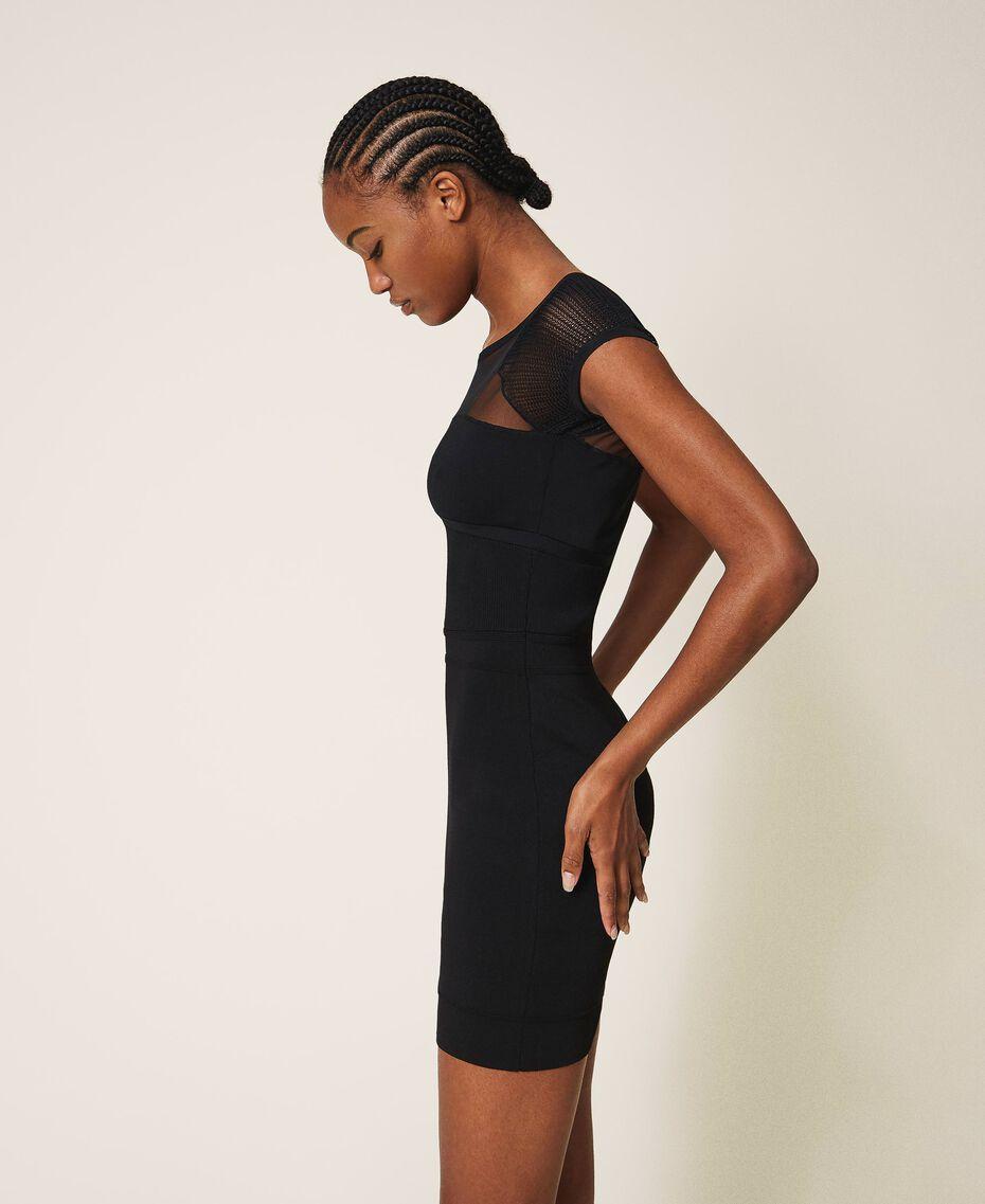 Vestido de tubo de punto y tul Negro Mujer 202MT3010-02