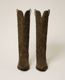 Suede Texas boots Dark Olive Green Woman 202TCP160-06