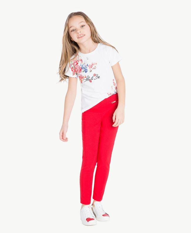 "T-Shirt mit Print ""Papers""-Weiß Kind GS82SP-06"