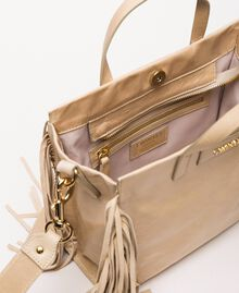 Cabas moyen en cuir avec franges Beige Nougat Femme 201TO8141-04
