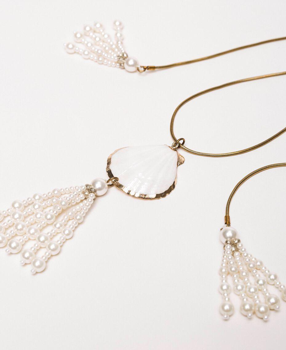 Ожерелье регулируемой длины с раковиной и жемчужинами Белый Antique White женщина 201TO5302-02