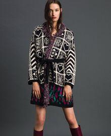 """Jacquard knit coat with fringes """"Snow"""" White Jacquard/ Black Woman 192TT3161-05"""