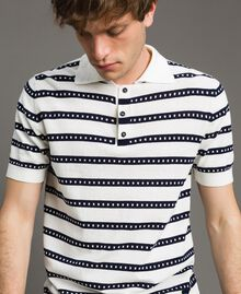 "Crêpe cotton striped polo shirt Two-tone Opaque White / ""Blackout"" Blue Man 191UT3030-01"