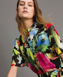 Robe longue de georgette à imprimé floral Gros Imprimé Fleur Noir Femme 191TT2481-04