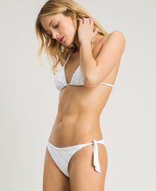 Triangle bikini top with broderie anglaise embroidery White Woman 191LBME22-02