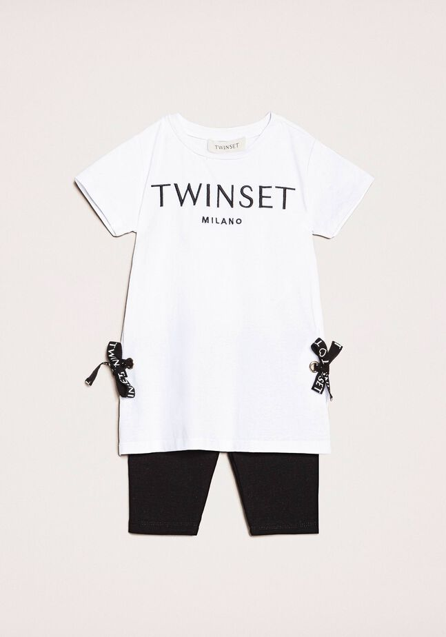 Maxi T-shirt with logo and leggings