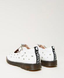 Studded leather ballerina shoes White Snow Child 211GCJ130-04