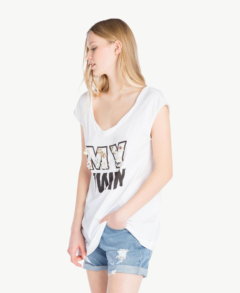 Embroidered T-shirt White Woman YS825M-02