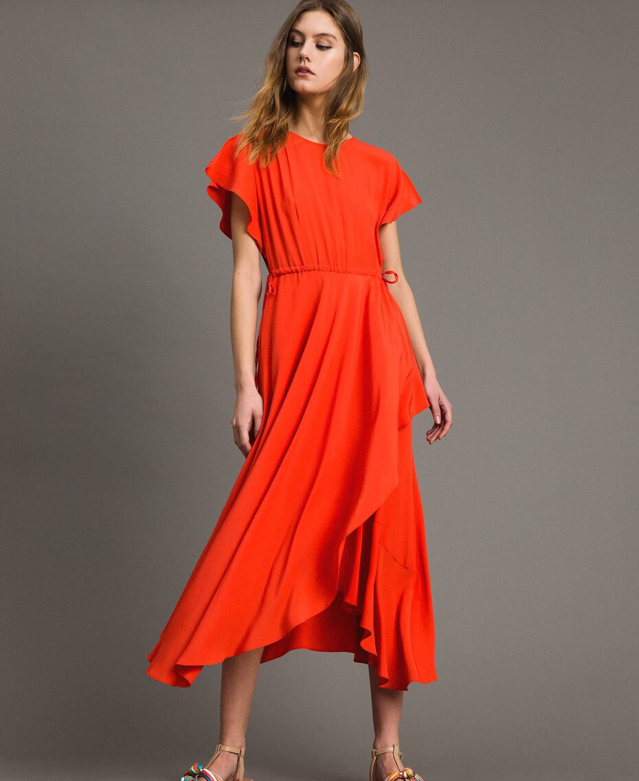 Robe longue en soie mélangée Rouge Grenadine Femme 191TT2079-01