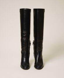 Hoher Stiefel aus Leder Schwarz Frau 202TCT084-04