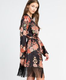 Vestaglia in twill stampata a fiori Stampa Nero Fiore Donna LA8KRR-02