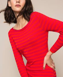 Robe fourreau dos nu à rayures Rayé Rouge «Griotte» / Rouge «Jaspe» Femme 201TP306A-05