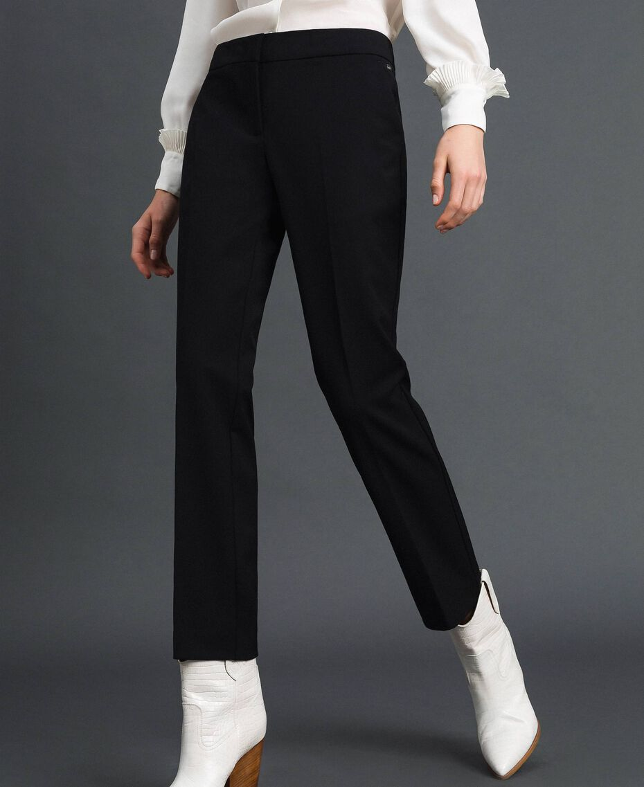 Cigarette trousers in technical wool Black Woman 192TP2356-01