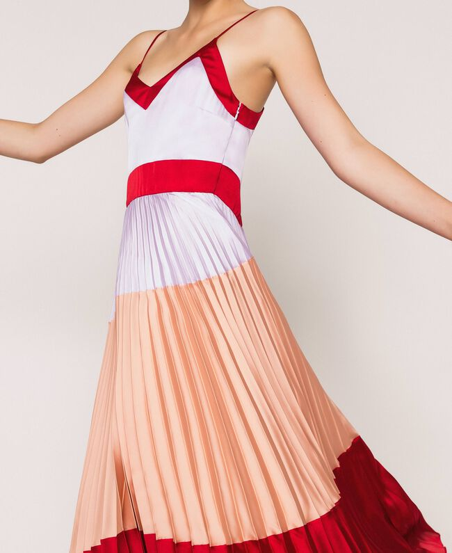 "Pleated satin long slip dress Multicolour ""Lava"" Red / ""Ballerina"" Purple / Nude Pink Woman 201TP2310-04"