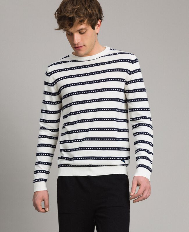 "Crêpe cotton striped jumper Two-tone Opaque White / ""Blackout"" Blue Man 191UT3031-04"