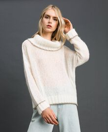 Mohair jumper with lurex stripes Papyrus White Woman 192TP3292-02