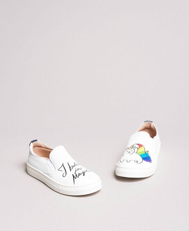 Slip-On-Sneakers mit Aufdruck Weiß Kind 191GCJ052-01