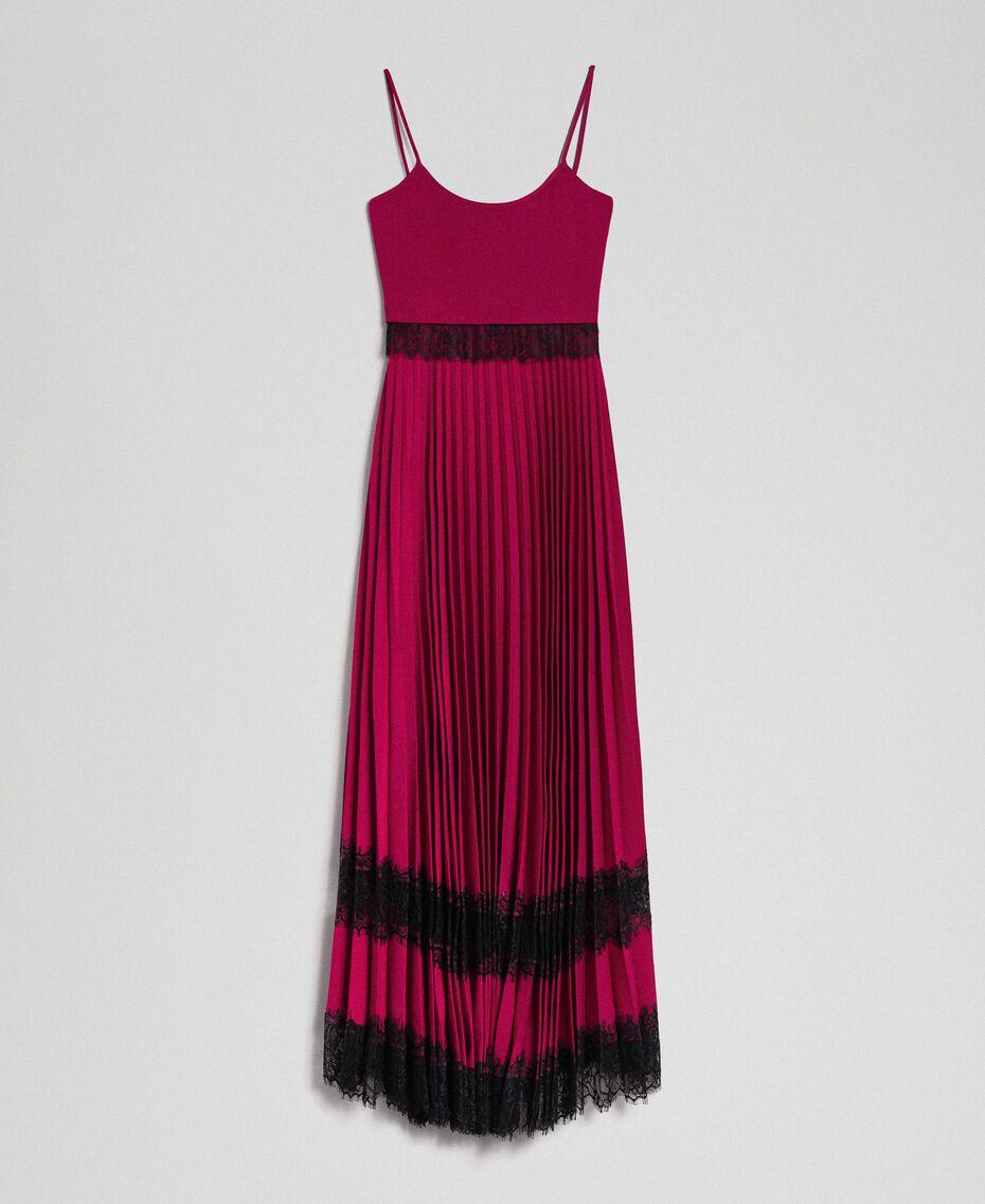 "Lace slip dress Bicolour Black / ""Snow"" White Woman 192TP2282-0S"